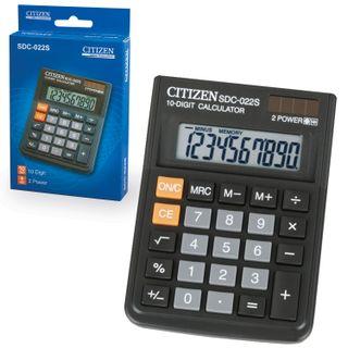 Desktop calculator CITIZEN SDC-022S, COMPACT (120x87 mm), 10 digits, dual power supply