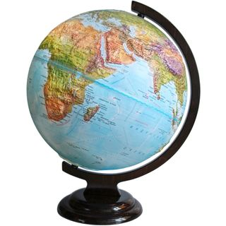 Geographical relief globe with a diameter of 320 mm on wooden stand