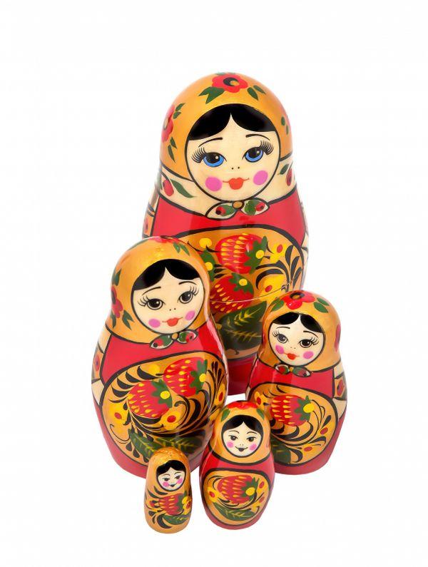 Khokhloma matryoshka 5 dolls
