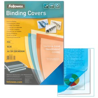 Plastic covers for A4 binding, SET 100 pcs., 200 microns, transparent blue, FELLOWES