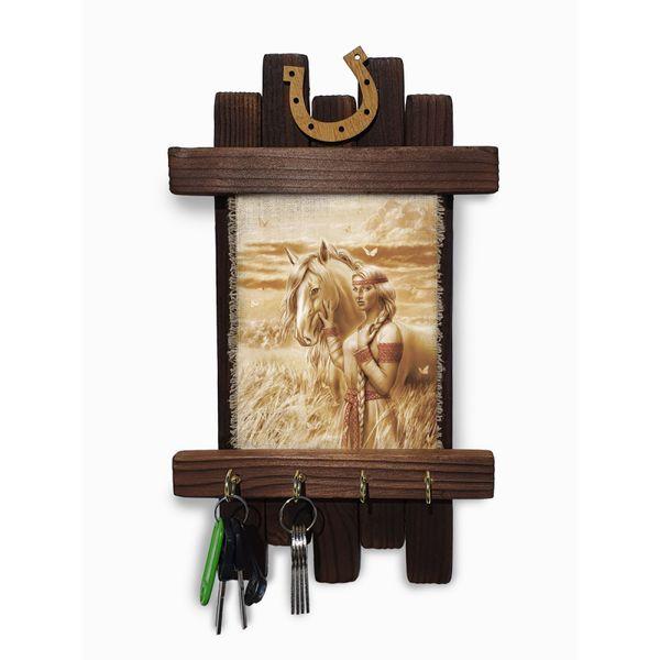 "Universal scroll / Handmade wooden wall key holder ""Belaya Rus maiden"""