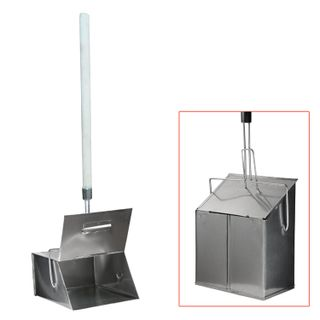Garbage scoop, metal, with a trap lid, 24x29 cm, with a wooden handle 75 cm