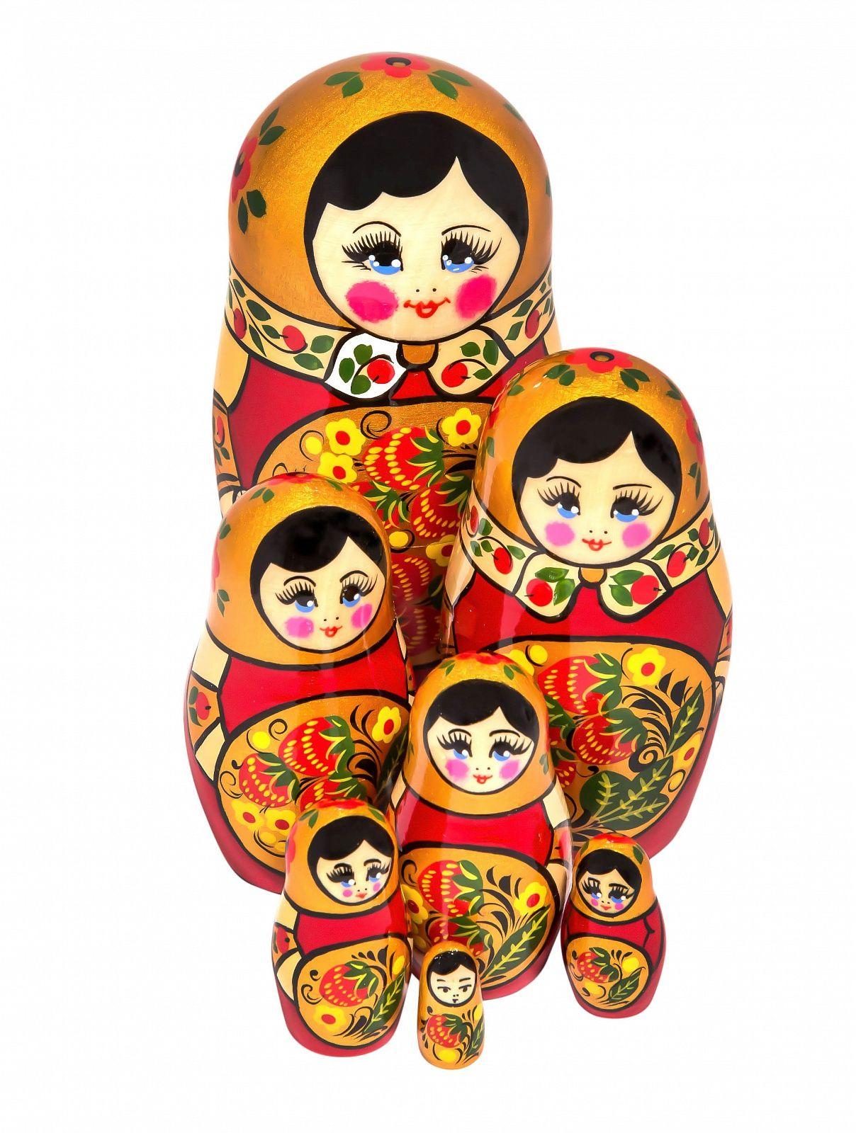 Khokhloma painting / Matryoshka Khokhloma 7 dolls