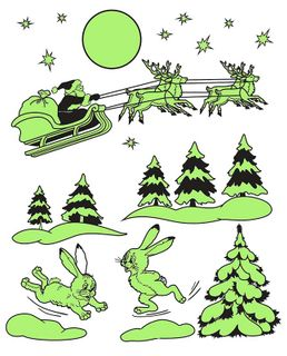 Happy New Year! Set of glowing christmas stickers