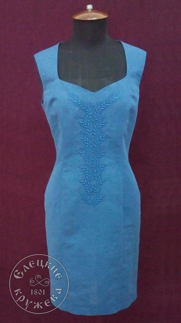 Yelets lace / Women's linen dress with embroidery С11614