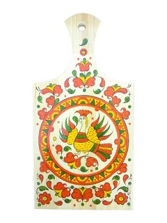 "Board kitchen rectangular ""Pyermogori painting. Sirin"" with handle 33.5 cm"
