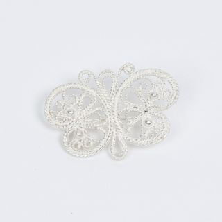 "Brooch ""Butterfly"" silvering, Kazakovskaya Filigree"