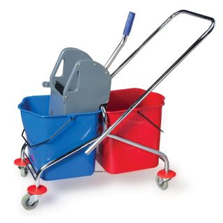 BRABIX / Cleaning trolley 2 removable buckets 25 l, mechanical spinning, metal frame