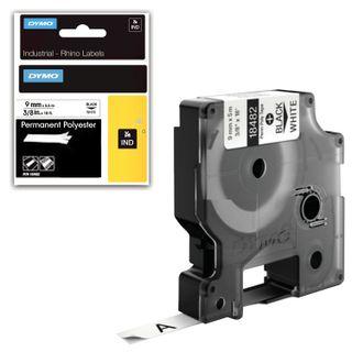 DYMO Rhino Label Printer Cartridge, 9mm x 5.5m, Polyester Ribbon, Extreme Temperature, Black Print, White