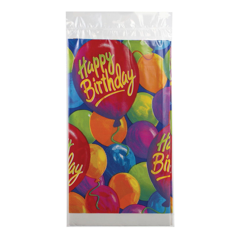 """FUNNY ZATEYA / Polyethylene tablecloth, 140x260 cm, balloons """"Happy Birthday"""""""