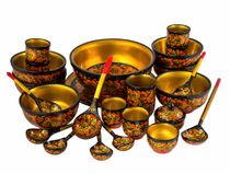 Khokhloma painting / Set for fish soup, 25 items