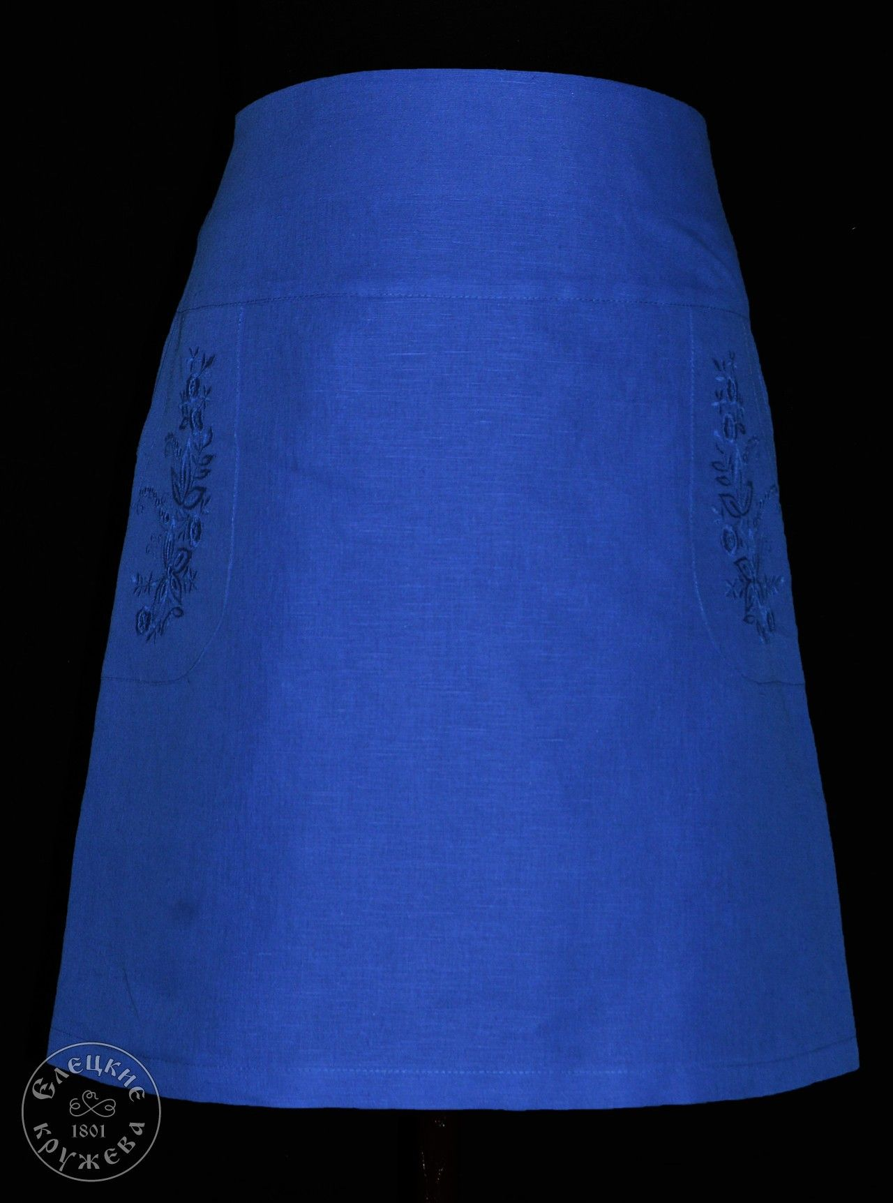 Yelets lace / Women's linen skirt with embroidery