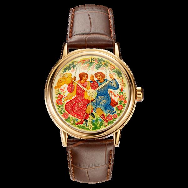 "Palekh watch ""Swings №25"" quartz, hand-painted, artist Smirnov, braun band"