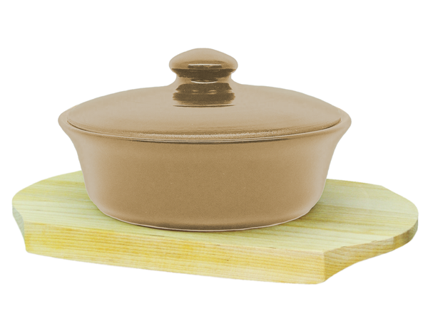 Vyatka ceramics / 0.5 L baking dish on a wooden stand (beige)