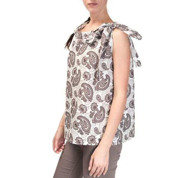 Women's blouse 'Dion' beige sleeveless with a bright pattern