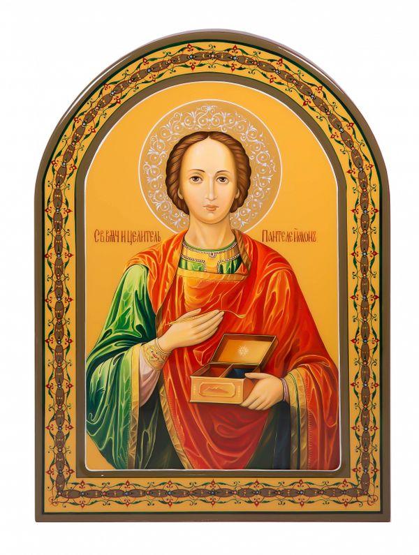"""Khokhloma painting / Icon """"Panteleimon"""" 245х335 mm"""