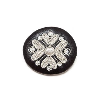 "Brooch ""Tradition"" in black with silver embroidery"