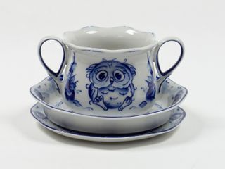 Dulevo porcelain / Children's set Owl