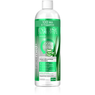 Refreshingly soothing micellar water with aloe Vera 3in1 series facemed+, Eveline, 500 ml