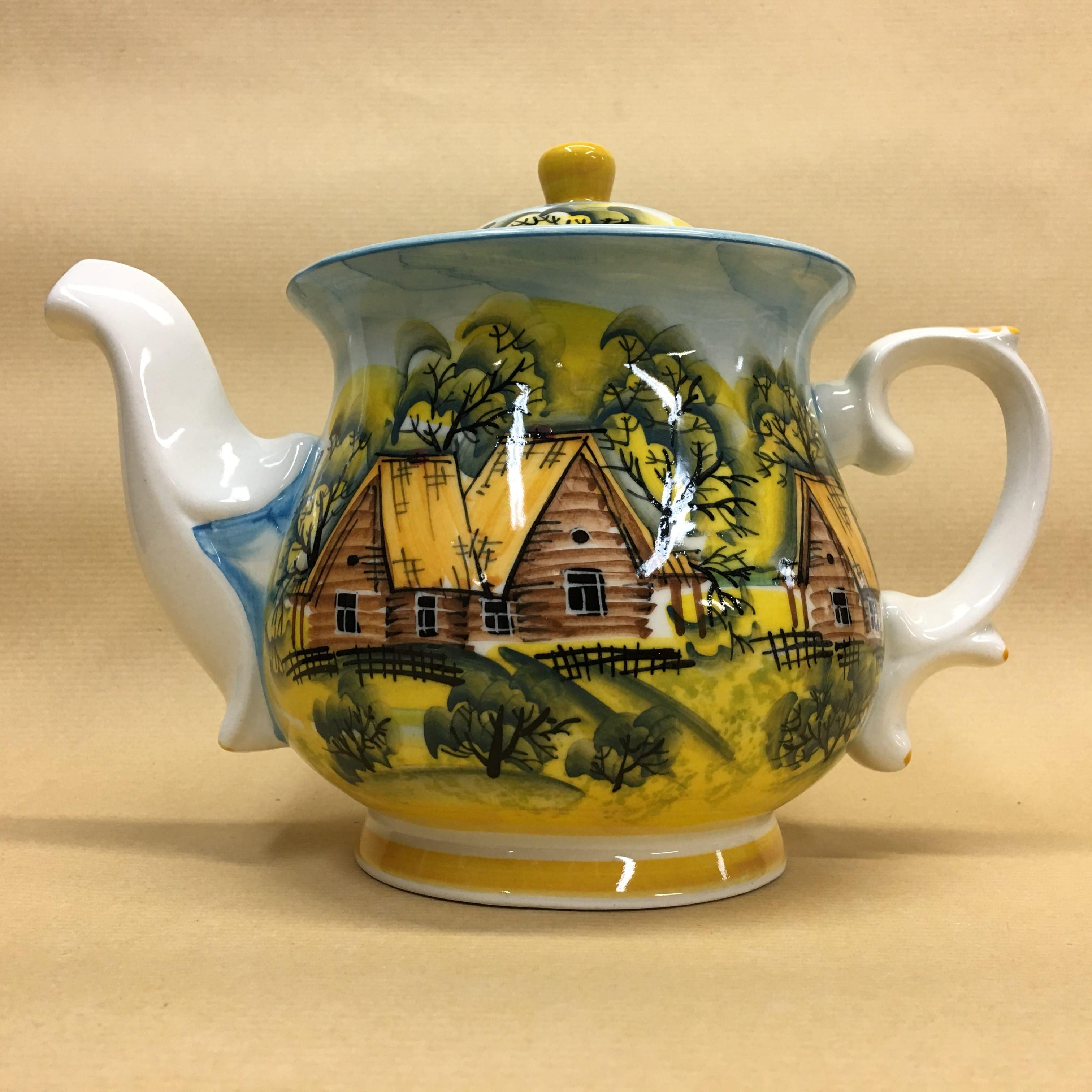 "Cheerful porcelain / Porcelain teapot ""Summer Village"", author Ogorodnikova O."