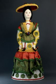 Doll gift porcelain. Woman of fashion. Costume on motives of Dymkovo toys.