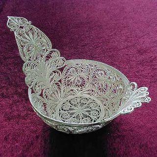 "Kazakovskaya Filigree / Souvenir ""Bucket"" No. 1 small silver plating"
