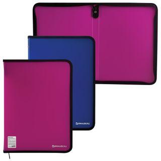 The zip folder, plastic, A4, volume, 335х240х20 mm, neon assorted, BRAUBERG, Russia