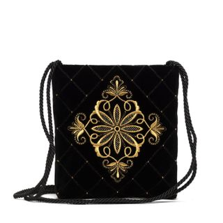 """Velvet bag """"the Countess"""" in black with gold embroidery"""
