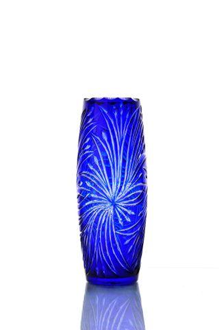 "Crystal vase for flowers ""Charm"" blue"