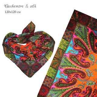 Premium quality cashmere large shawl with bright print (Design 2)