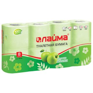 LIME / Toilet paper for household use, adhesive 8 pcs., 2-ply (8x19 m), apple aroma