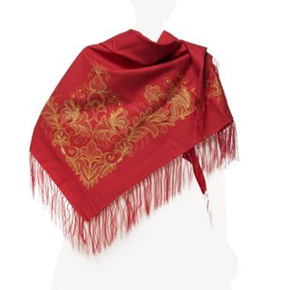 Scarf Butterfly red color with Golden embroidery