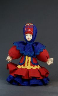 Doll gift porcelain. Cossack in gala attire. 19th century - Russia.