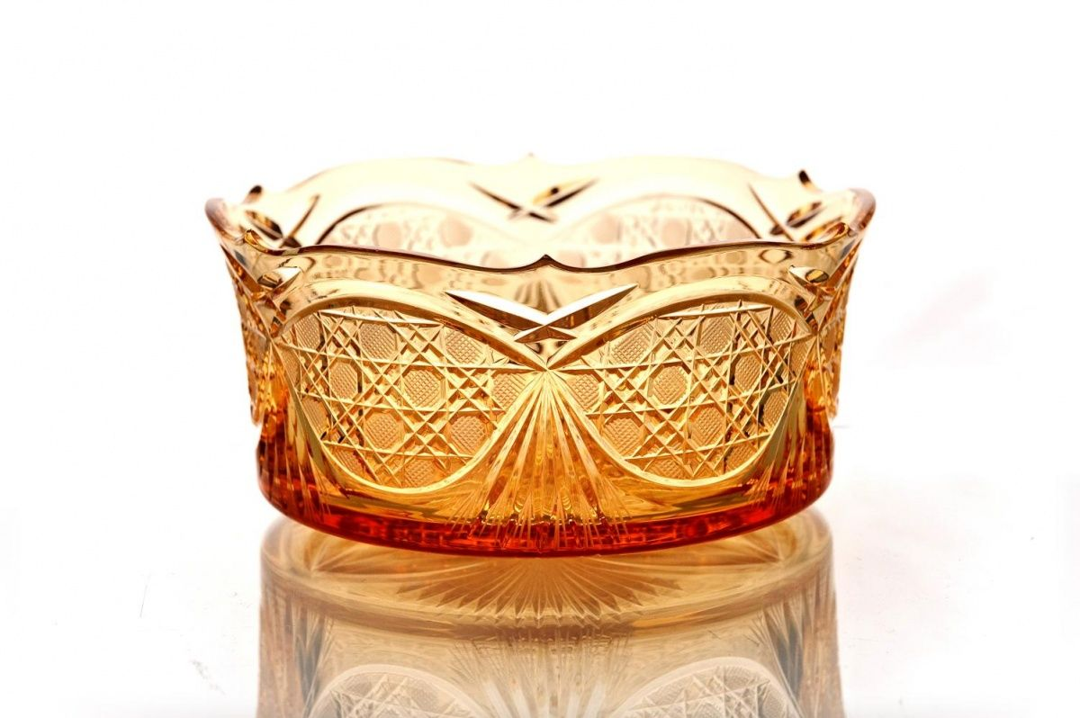 "Crystal vase for table ""Swede"" amber"