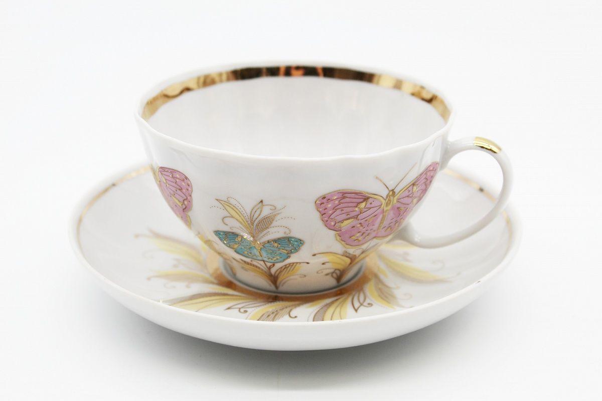 Dulevo porcelain / Tea cup and saucer set, 12 pcs., 275 ml White swan Fantasy