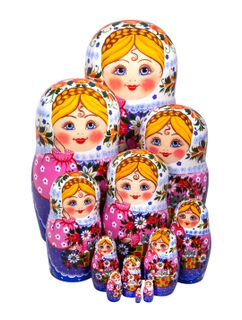 Matryoshka dolls 12 author, Golden Khokhloma