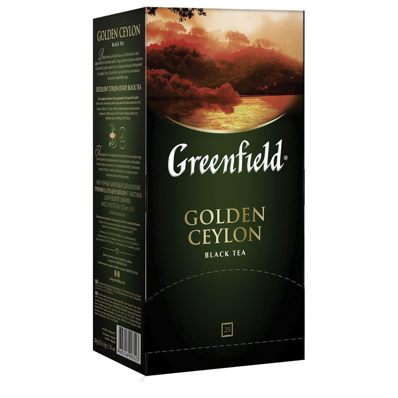 """GREENFIELD / Tea """"Golden Ceylon"""" black, 25 sachets in envelopes of 2 g"""