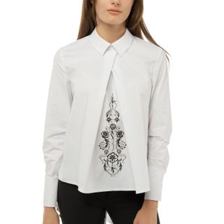"Blouse female ""Flora"" of white color of asymmetric form with a black pattern"