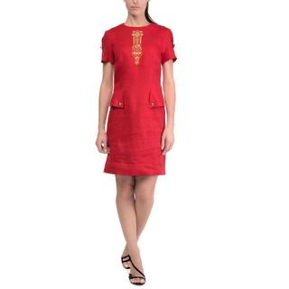 Dress womens Safari red with gold embroidery