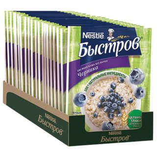 Oat porridge BYSTROV, blueberries, 680 g (17 pcs. 40 g each), cardboard show box