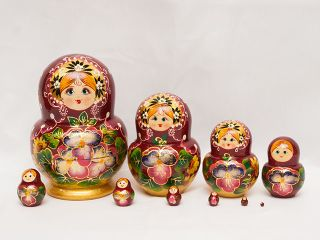 Matryoshka 10 seats Flower with a pot-souvenir