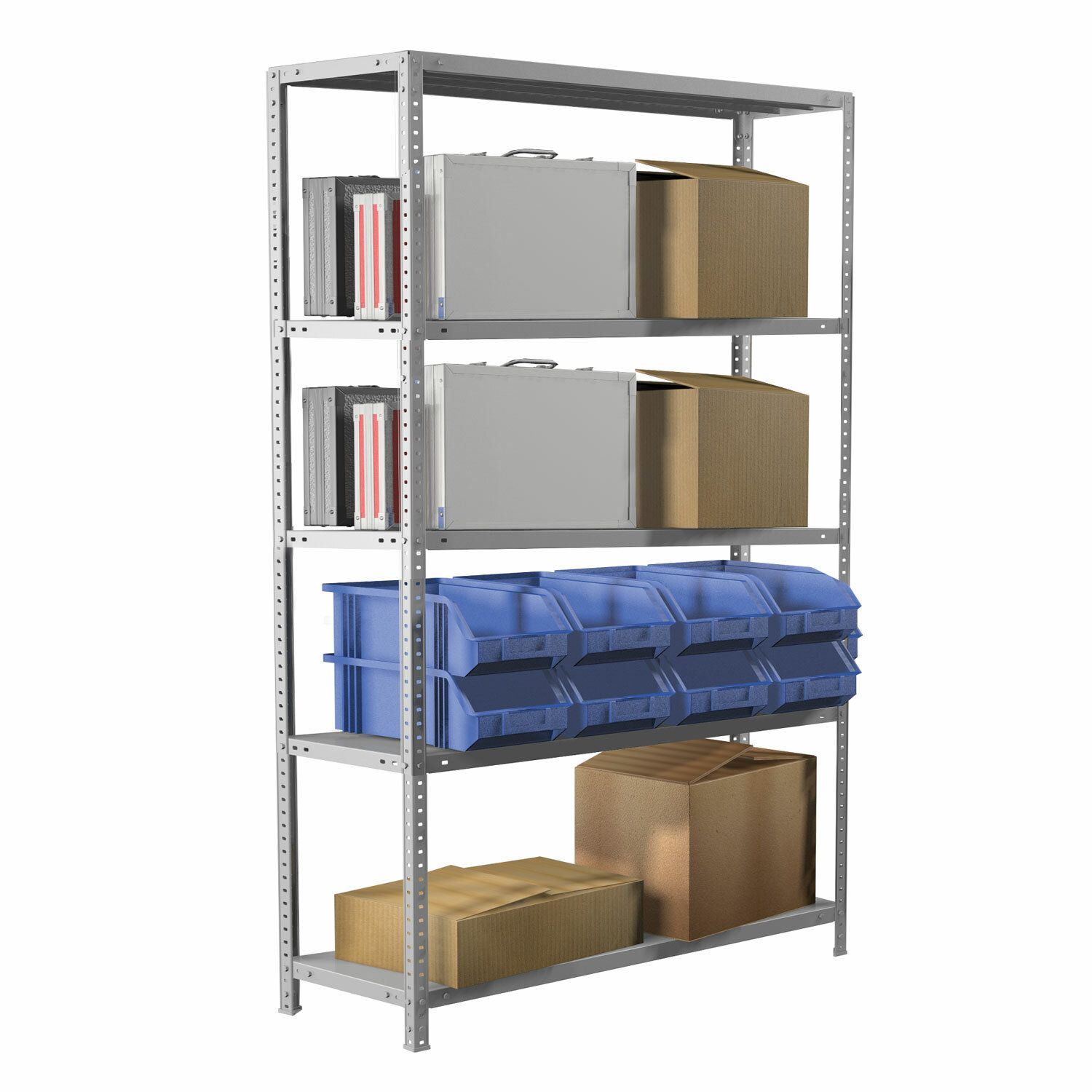"Metal BRABIX ""MS Plus-200/60-5"" (in 2000-s1000/g600mm), 5 shelves, adjustable supports"