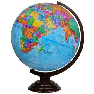 Political globe with a diameter of 420 mm on wooden stand