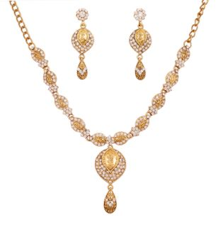 Touchstone Antique Gold Plated Traditional Necklace Set For Women