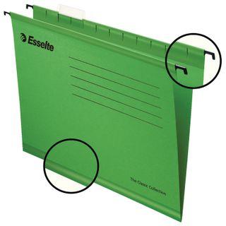 Hanging folder A4/Foolscap (400х240 mm), 300 sheets, SET of 25 PCs, green cardboard ESSELTE