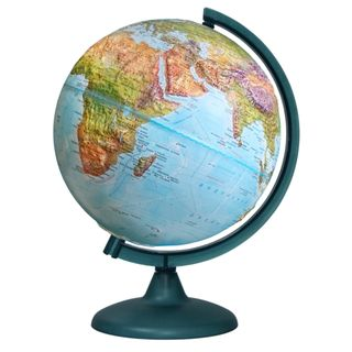 Geographical relief globe with a diameter of 250 mm
