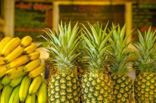 Bananas, pineapples