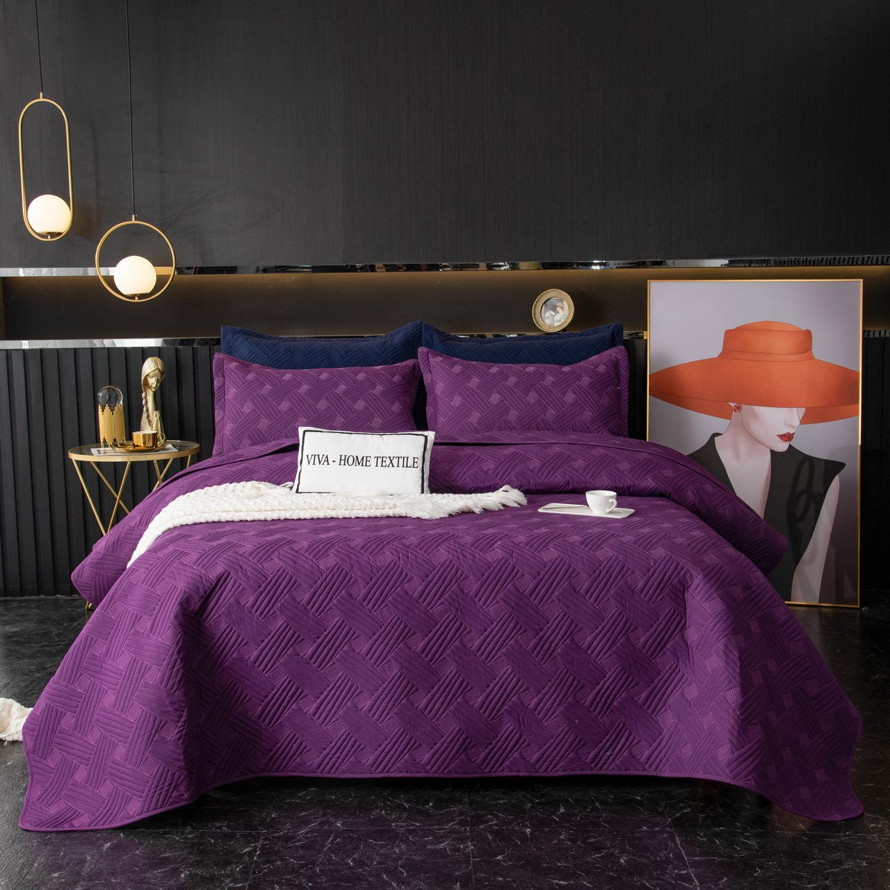 Sitrade / Set single color quilted bedspread and two pillowcases 50-70, OP029