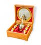 Souvenir cognac set of zirconium 'FIRM' in a gift box made of wood - view 1