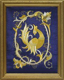 Mural 'Bird PAVA' blue, Torzhok seamstresses